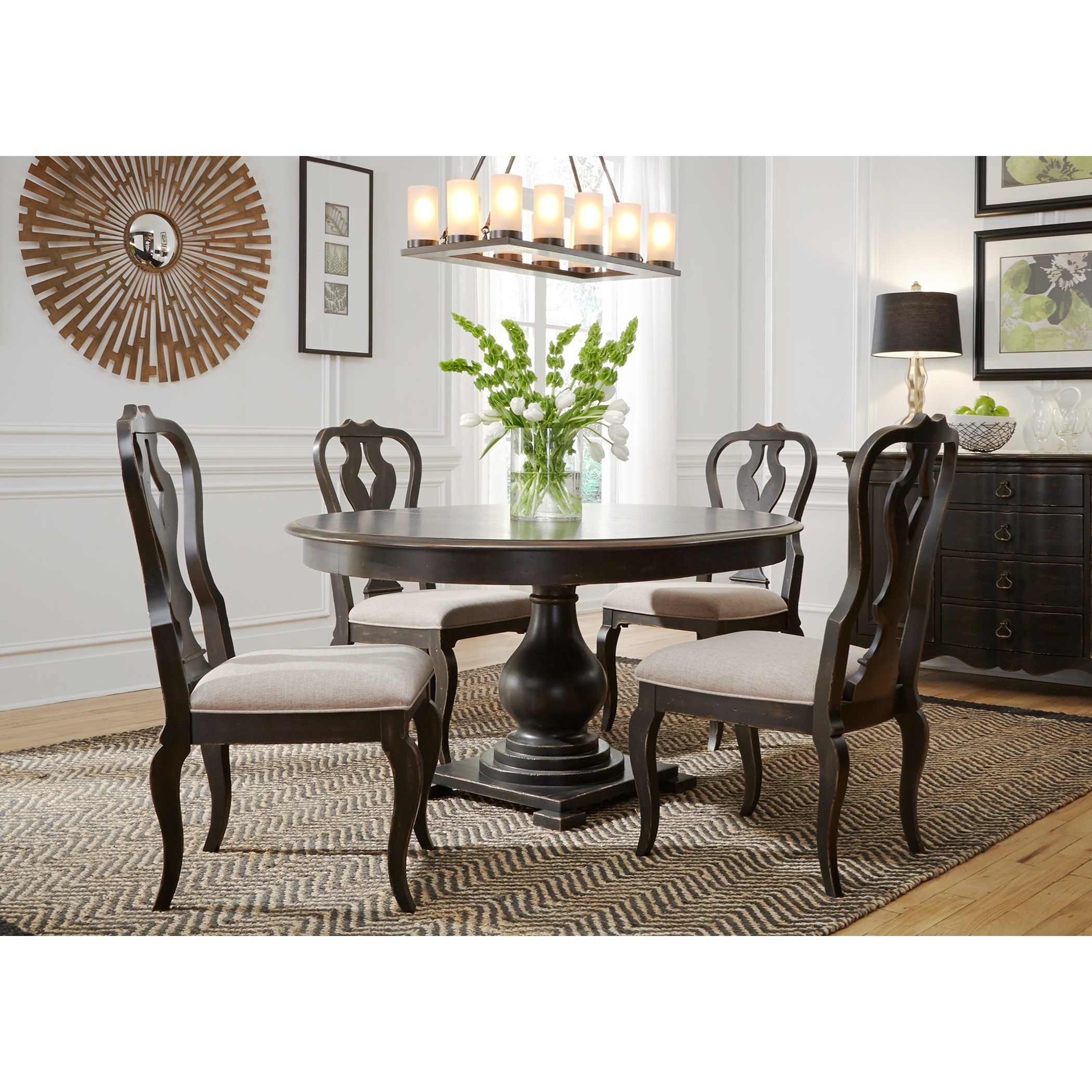 Round Pedestal Table and Chair Set
