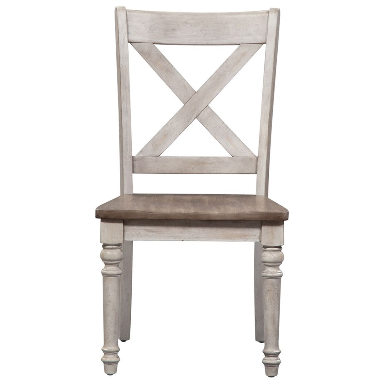 Cottage Lane X Back Wood Seat Side Chair (RTA) by Libby at Walker's Furniture