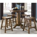 Liberty Furniture Creations II Pub Table with Single Pedestal - Shown with Sawhorse Barstool