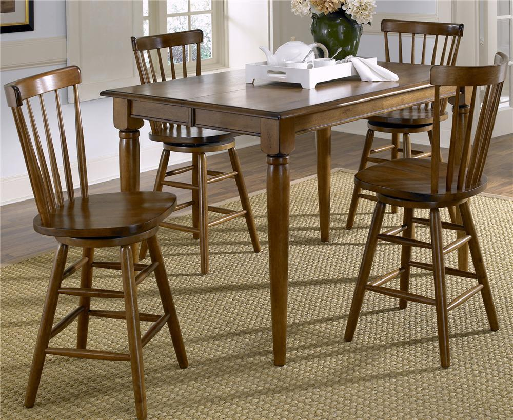 Liberty Furniture Creations II 5 Piece Gathering Table and Bar Stools - Item Number: 38-T5454+4xB1724
