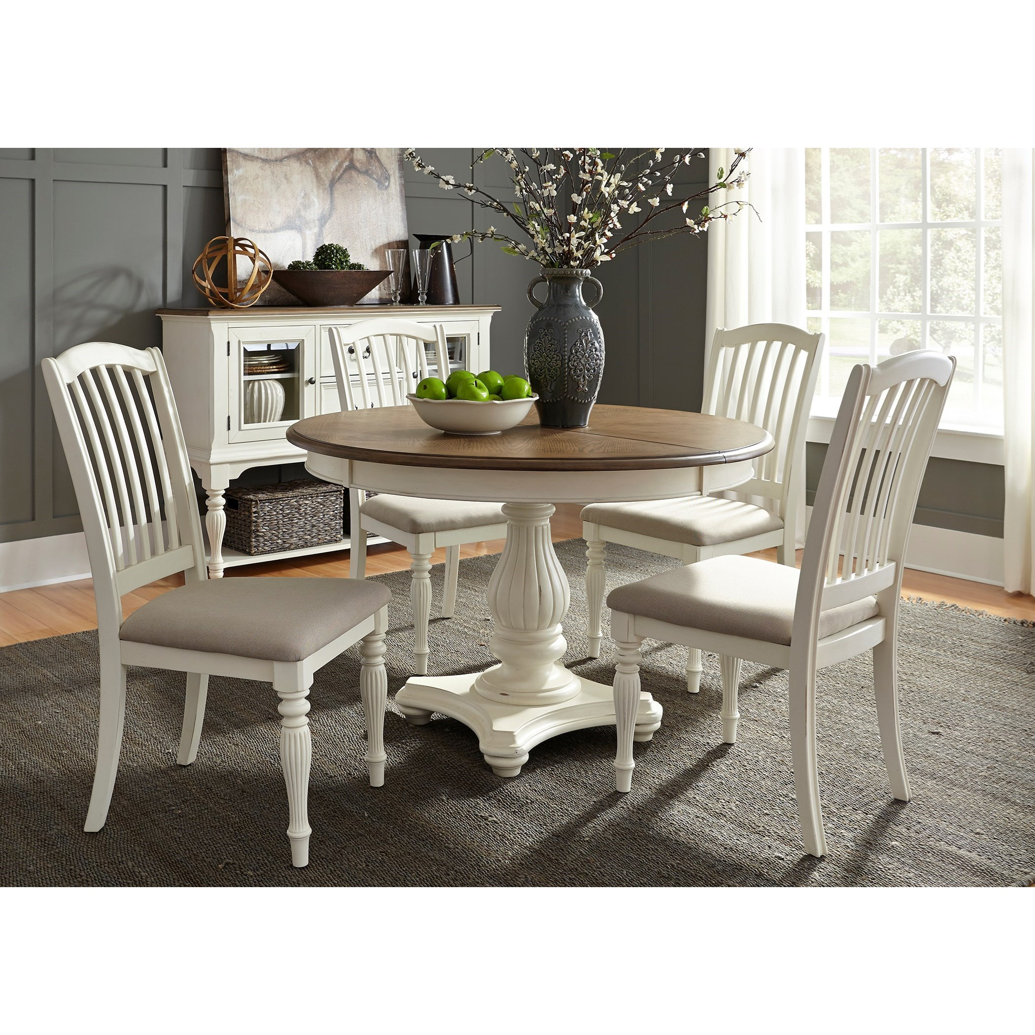 Liberty Furniture Cumberland Creek Dining 5 Piece Pedestal Table Set  - Item Number: 334-CD-5PDS