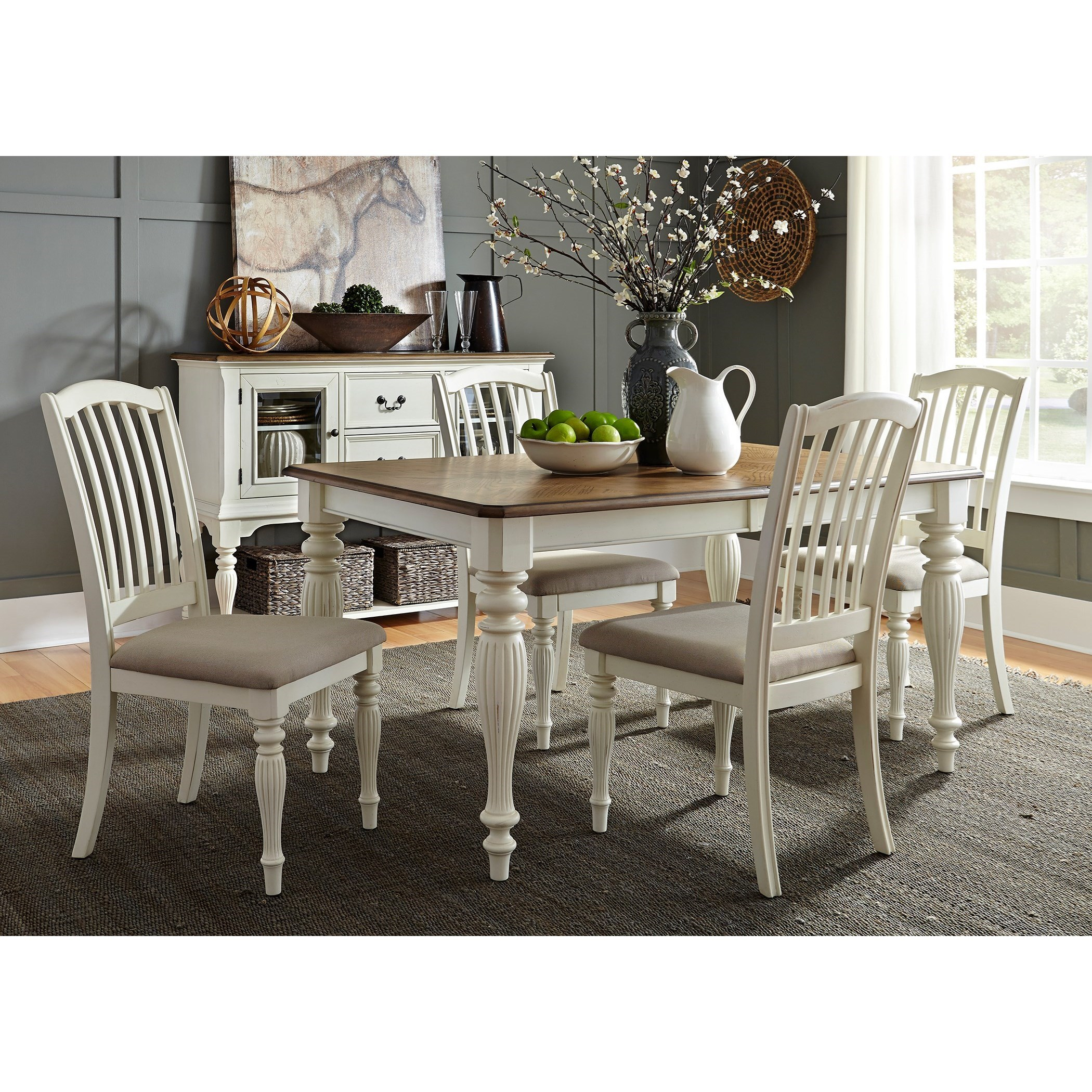 Liberty Furniture Cumberland Creek Dining 5 Piece Rectangular Table Set  - Item Number: 334-CD-5RLS