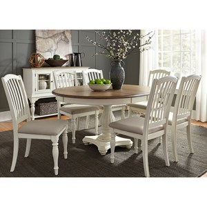 Vendor 5349 Cumberland Creek Dining 7 Piece Pedestal Table Set