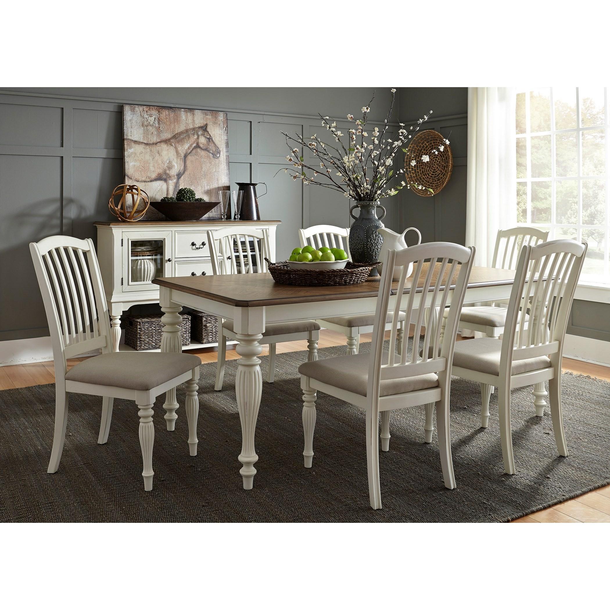 Liberty Furniture Cumberland Creek Dining 7 Piece Rectangular Table Set  - Item Number: 334-CD-7RLS