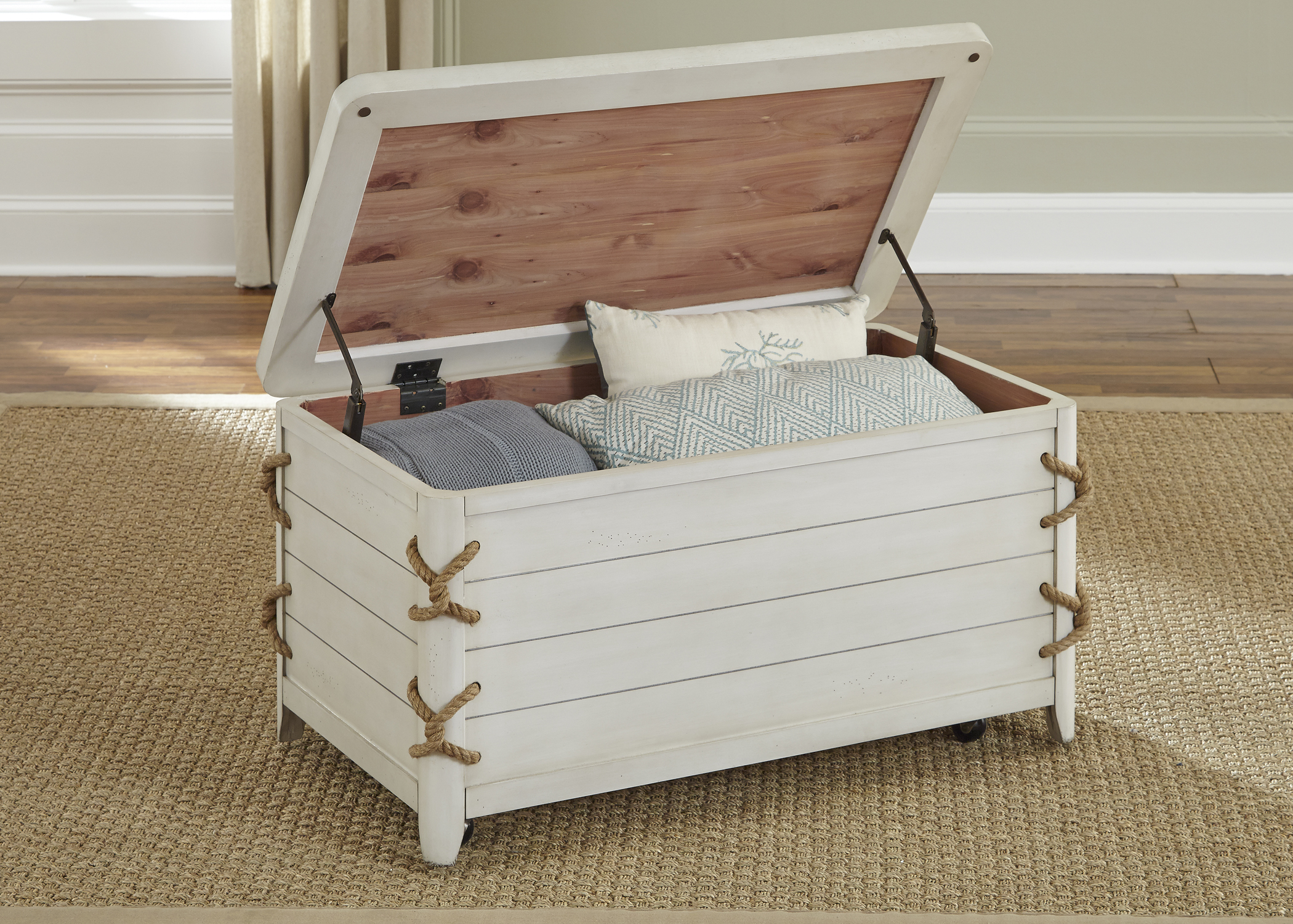 Dockside II Coastal Storage Trunk with Rope Accents | Rotmans ...