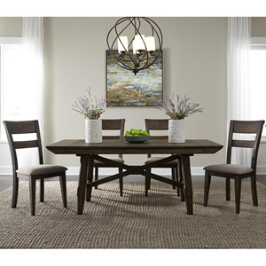 Liberty Furniture Double Bridge 5 Piece Trestle Table Set