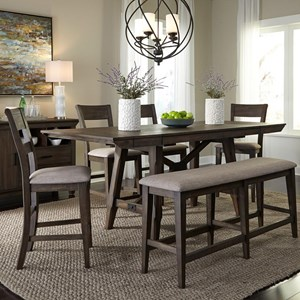 Liberty Furniture Double Bridge 6 Piece Gathering Table Set