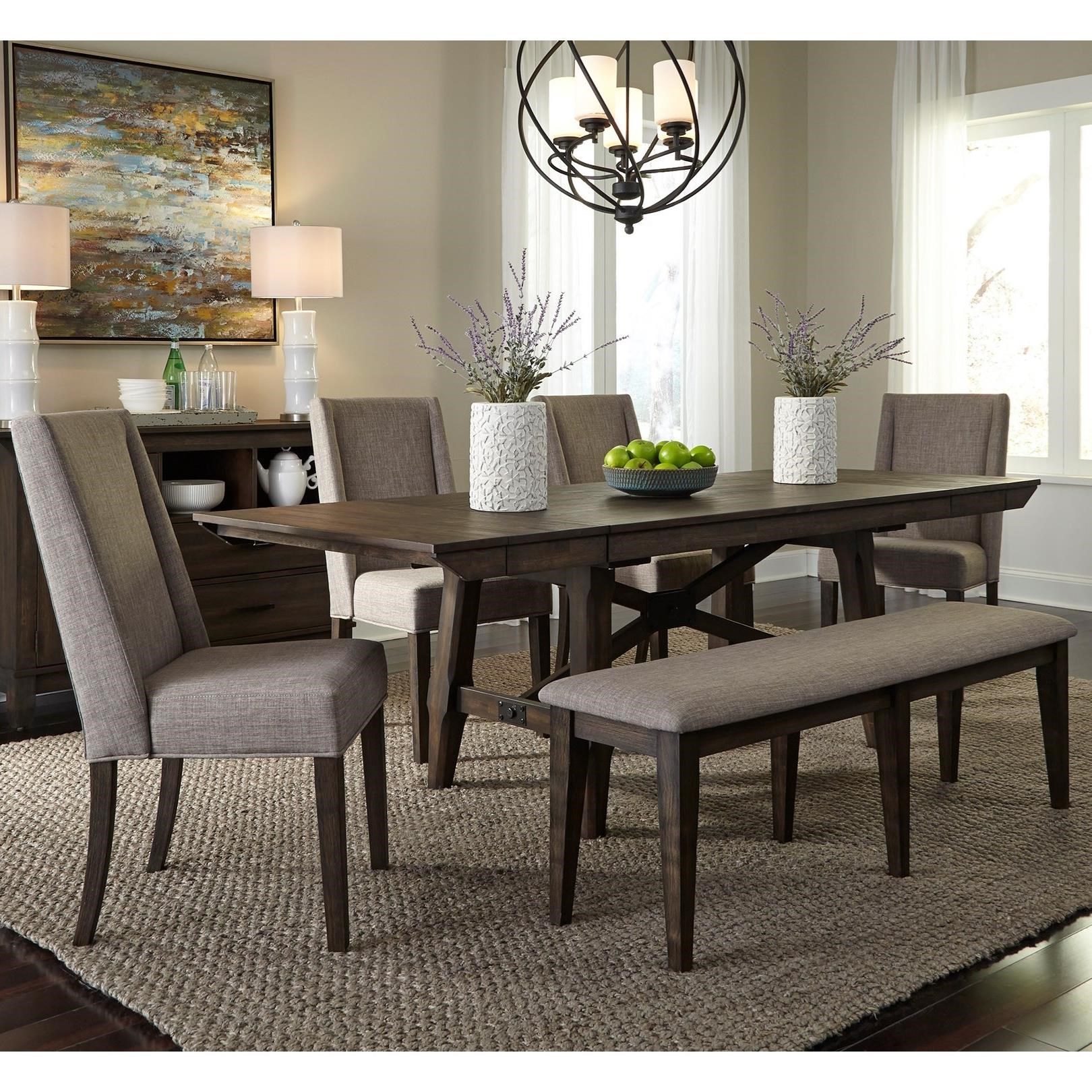 Double Bridge 6 Piece Trestle Table Set by Liberty Furniture at Northeast Factory Direct