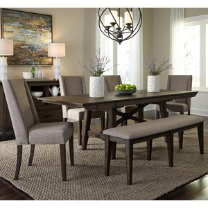 Liberty Furniture Double Bridge 6 Piece Trestle Table Set