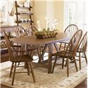 Liberty Furniture Farmhouse  Windsor Back Arm Chair - Shown with Trestle Table and Side Chair