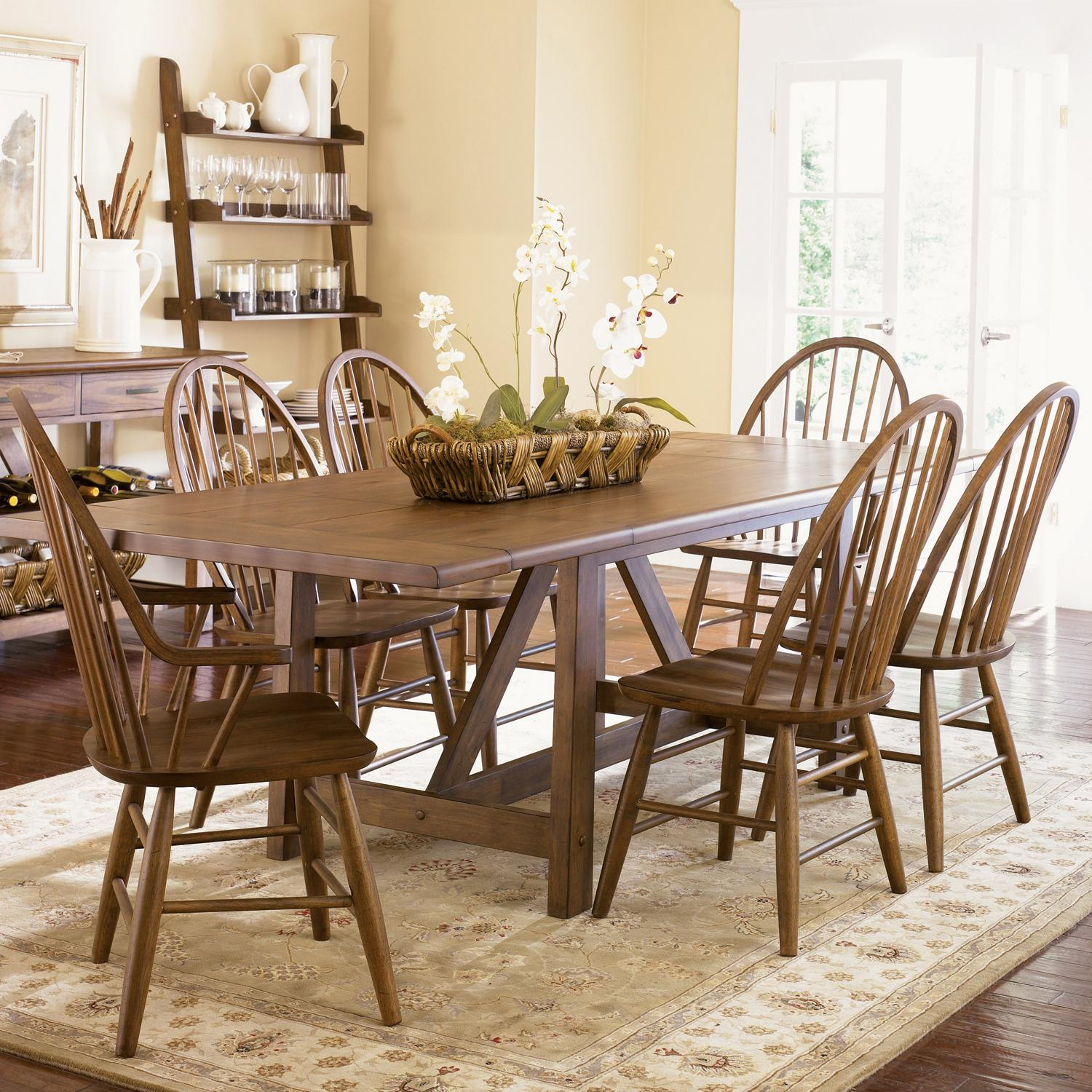 Liberty Furniture Farmhouse  Seven Piece Dining Set - Item Number: 139-T4002+2xC1000A+4xC1000S