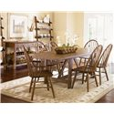Liberty Furniture Farmhouse  Seven Piece Trestle Table and Windsor Back Chair Set - Shown with Server and Leaning Bookcase