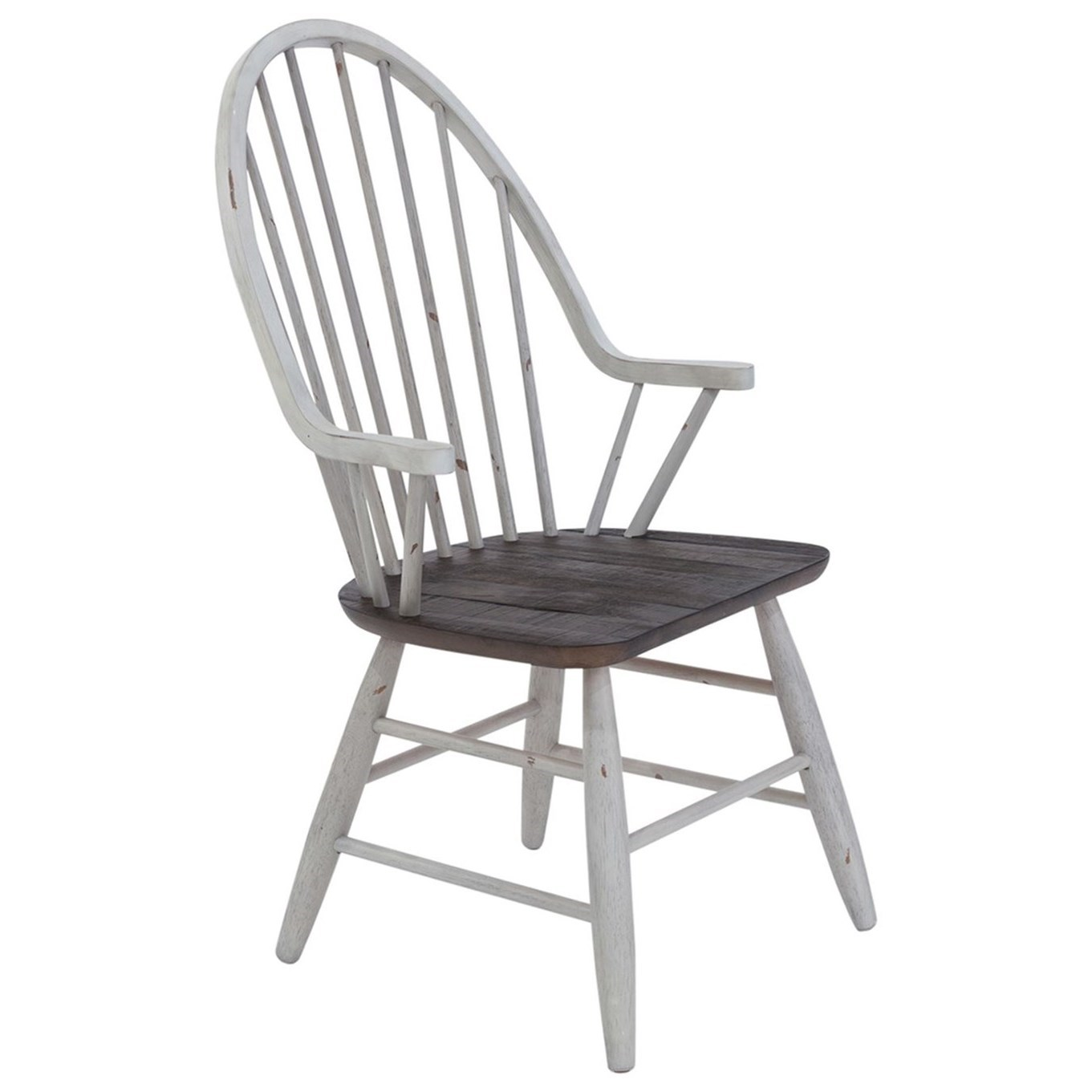 Farmhouse Windsor Back Arm Chair by Libby at Walker's Furniture