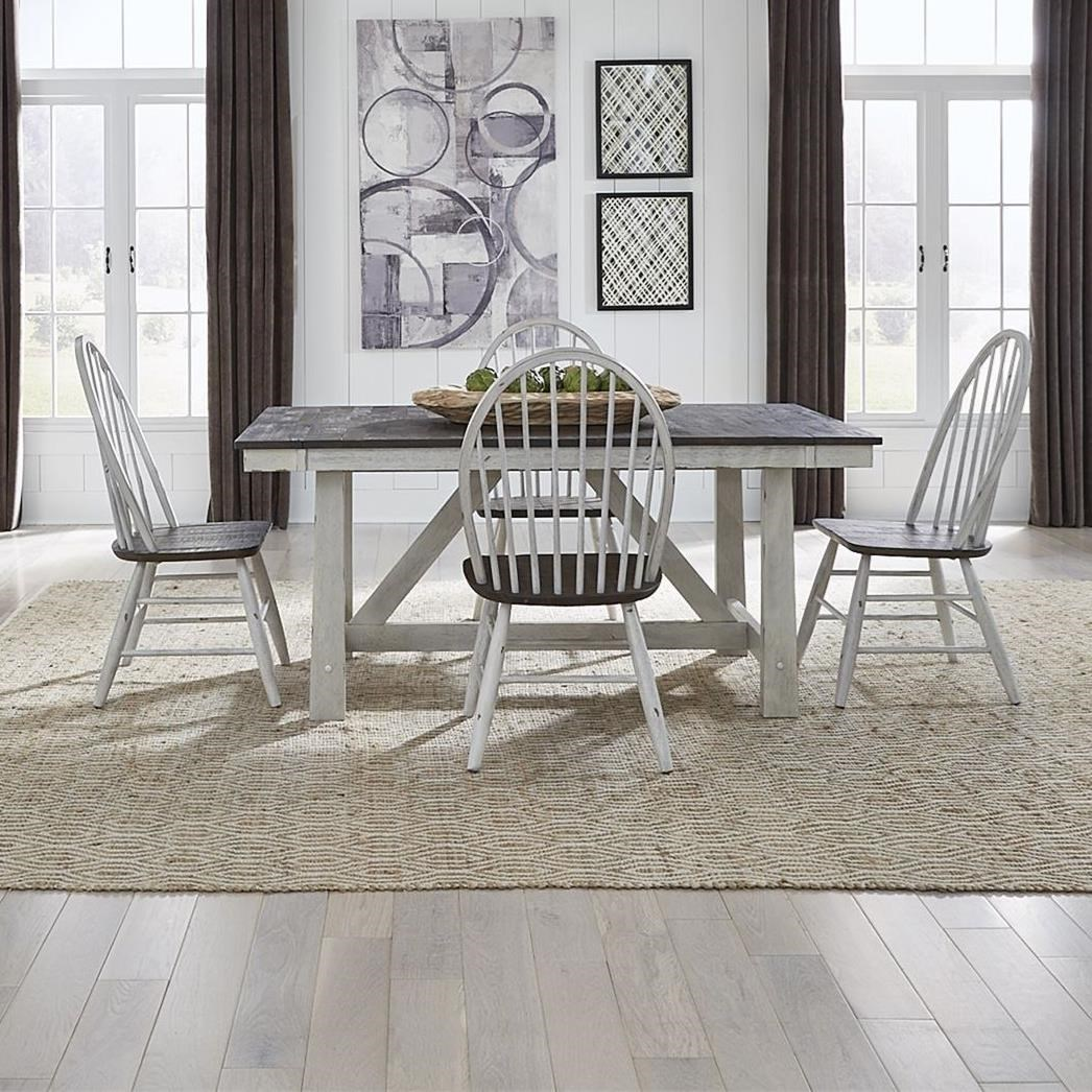 Farmhouse Optional 5-Piece Trestle Table Set by Liberty Furniture at Northeast Factory Direct