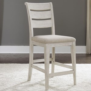 Ladder Back Upholstered Counter Chair