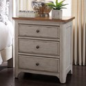 Liberty Furniture Farmhouse Reimagined 3 Drawer Night Stand - Item Number: 652-BR61