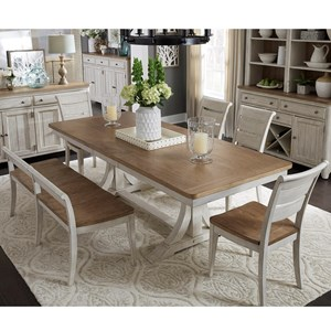 Liberty Furniture Farmhouse Reimagined 6-Piece Trestle Table Set