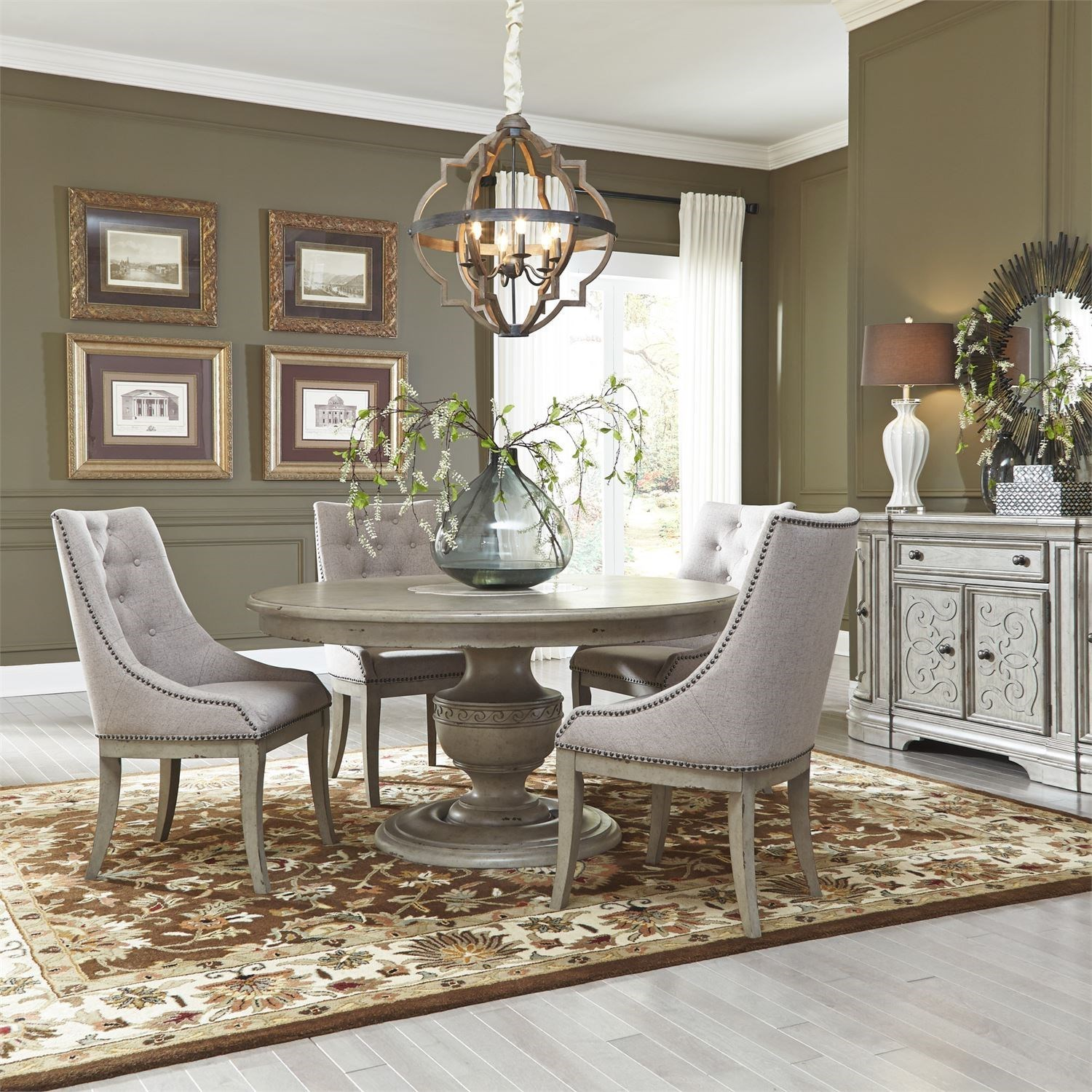 Messina Estates Seven Piece Traditional Dining Table And: Liberty Furniture Grand Estates 5 Piece Pedestal Table Set