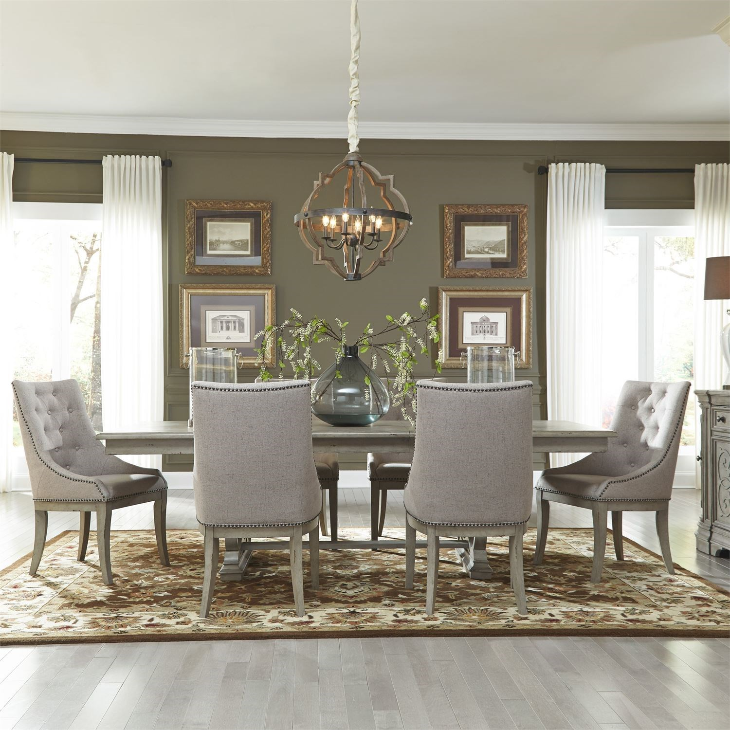 Messina Estates Seven Piece Traditional Dining Table And: Liberty Furniture Grand Estates 7 Piece Trestle Table Set