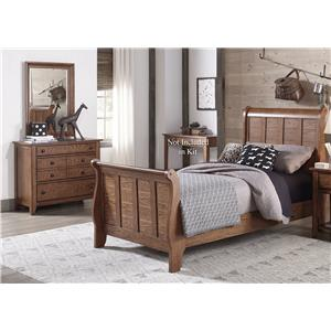 Liberty Furniture Grandpa's Cabin Twin Sleigh Bed, Dresser & Mirror