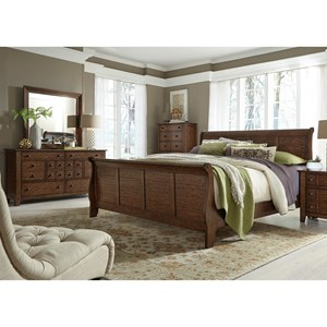 Liberty Furniture Grandpa's Cabin Queen Sleigh Bed, Dresser & Mirror, Chest