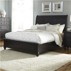 Vendor 5349 Hamilton III Queen Sleigh Bed with Storage Footboard