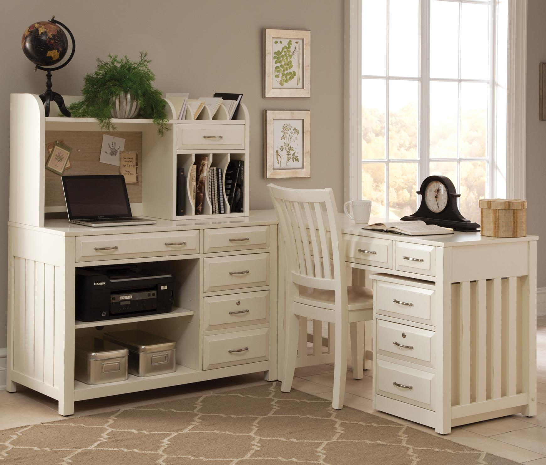 Hampton Bay White 5 Piece L Shaped Desk And File Cabinet