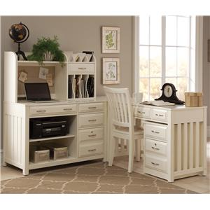 Liberty Furniture Hampton Bay - White L-Shaped Desk with File Cabinet