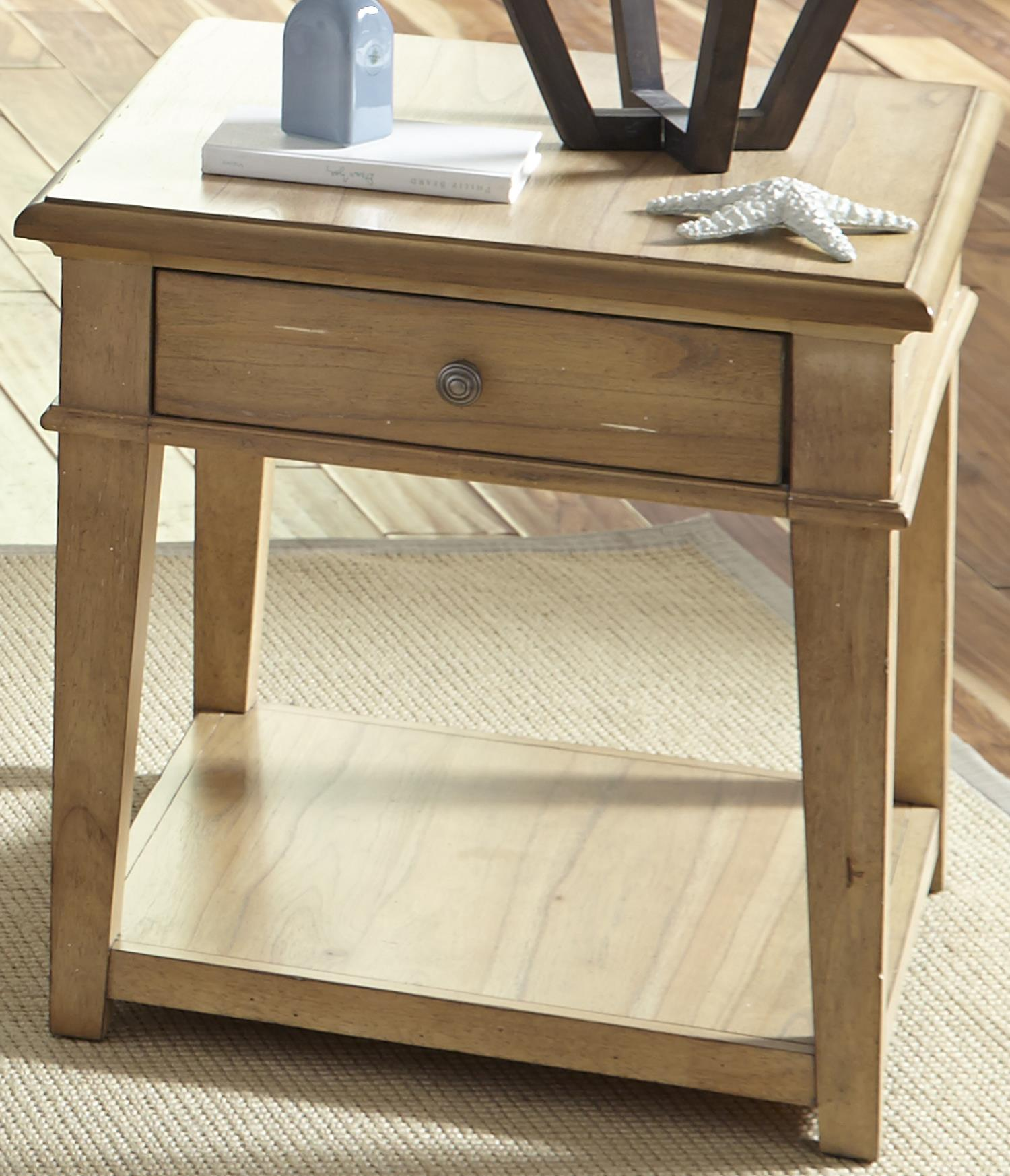 Liberty Furniture Harbor View Rustic Casual End Table With One Drawer Dream Home Furniture