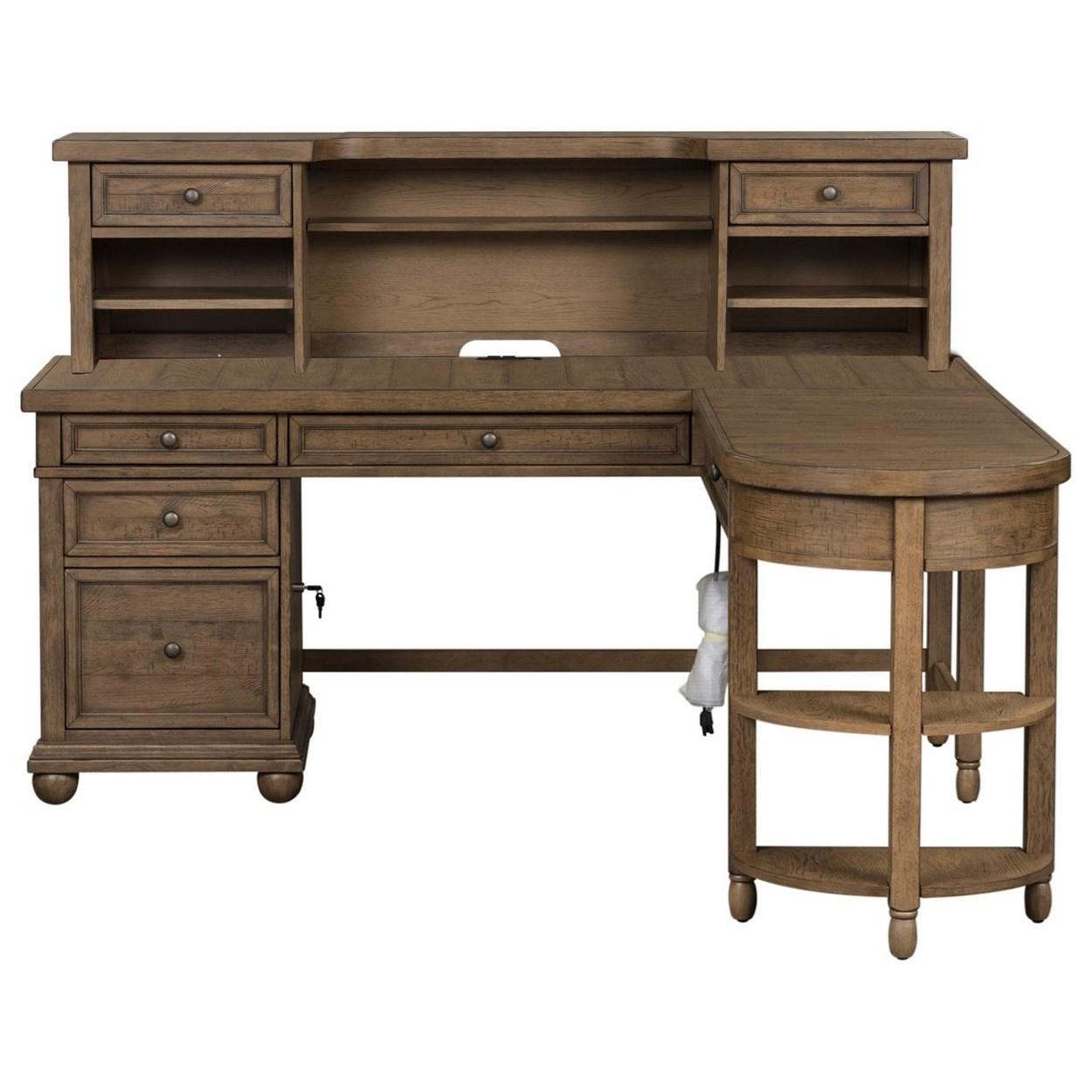 Harvest Home L-Shaped Desk Set by Libby at Walker's Furniture