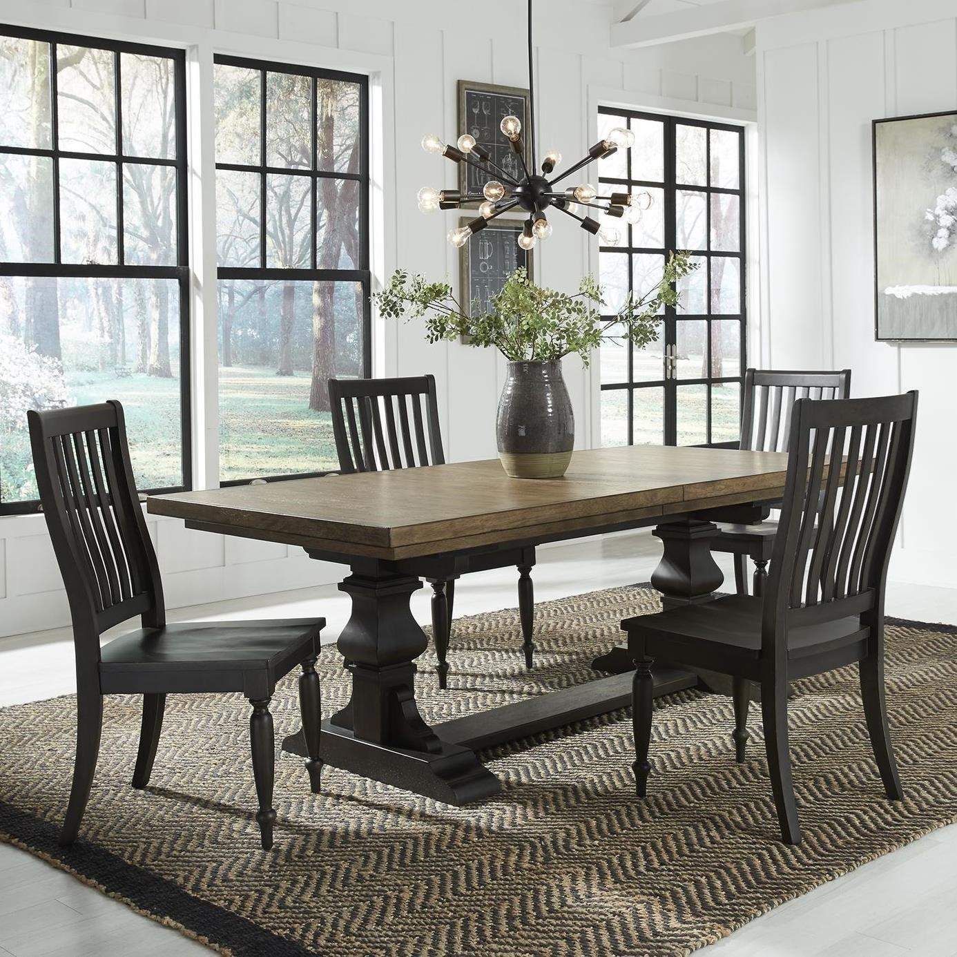 Harvest Home 5-Piece Trestle Table Set by Libby at Walker's Furniture