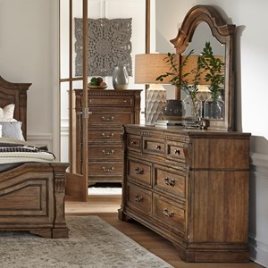 Traditional 7-Drawer Dresser and Arched Mirror Set