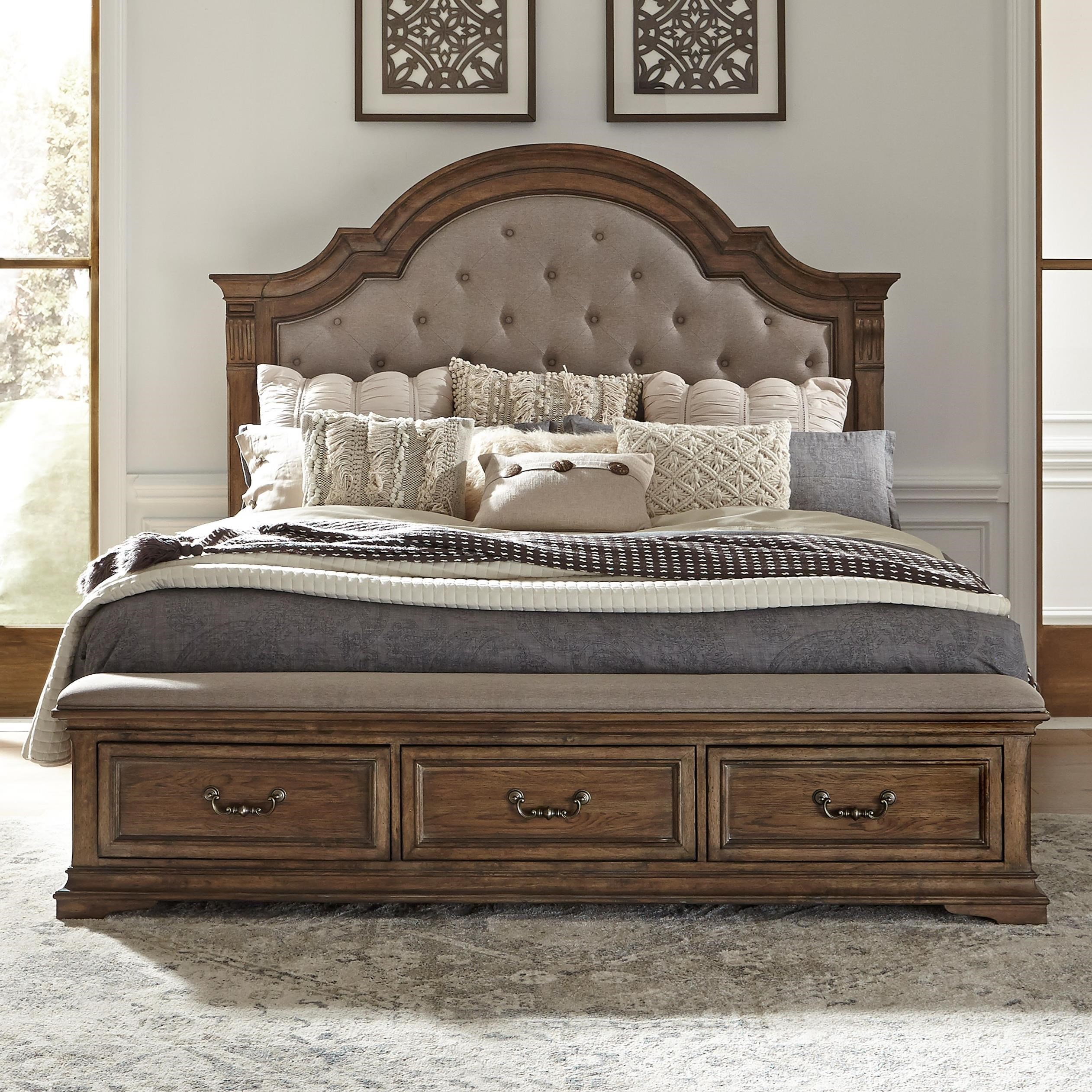 Haven Hall King Upholstered Storage Bed by Liberty Furniture at Northeast Factory Direct