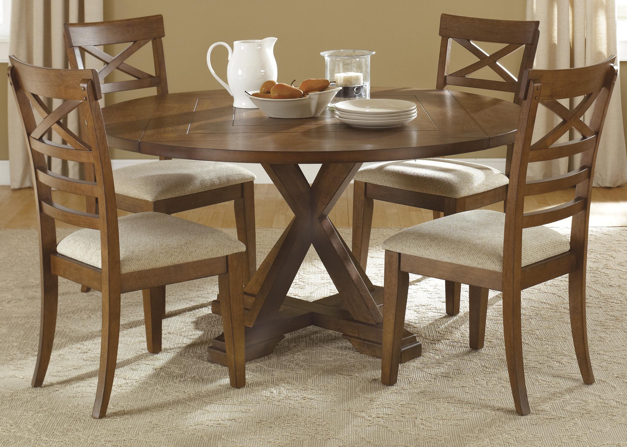Liberty Furniture Bunker Hill 5 Piece Pedestal Table Set  - Item Number: 382-DR-O5PDS