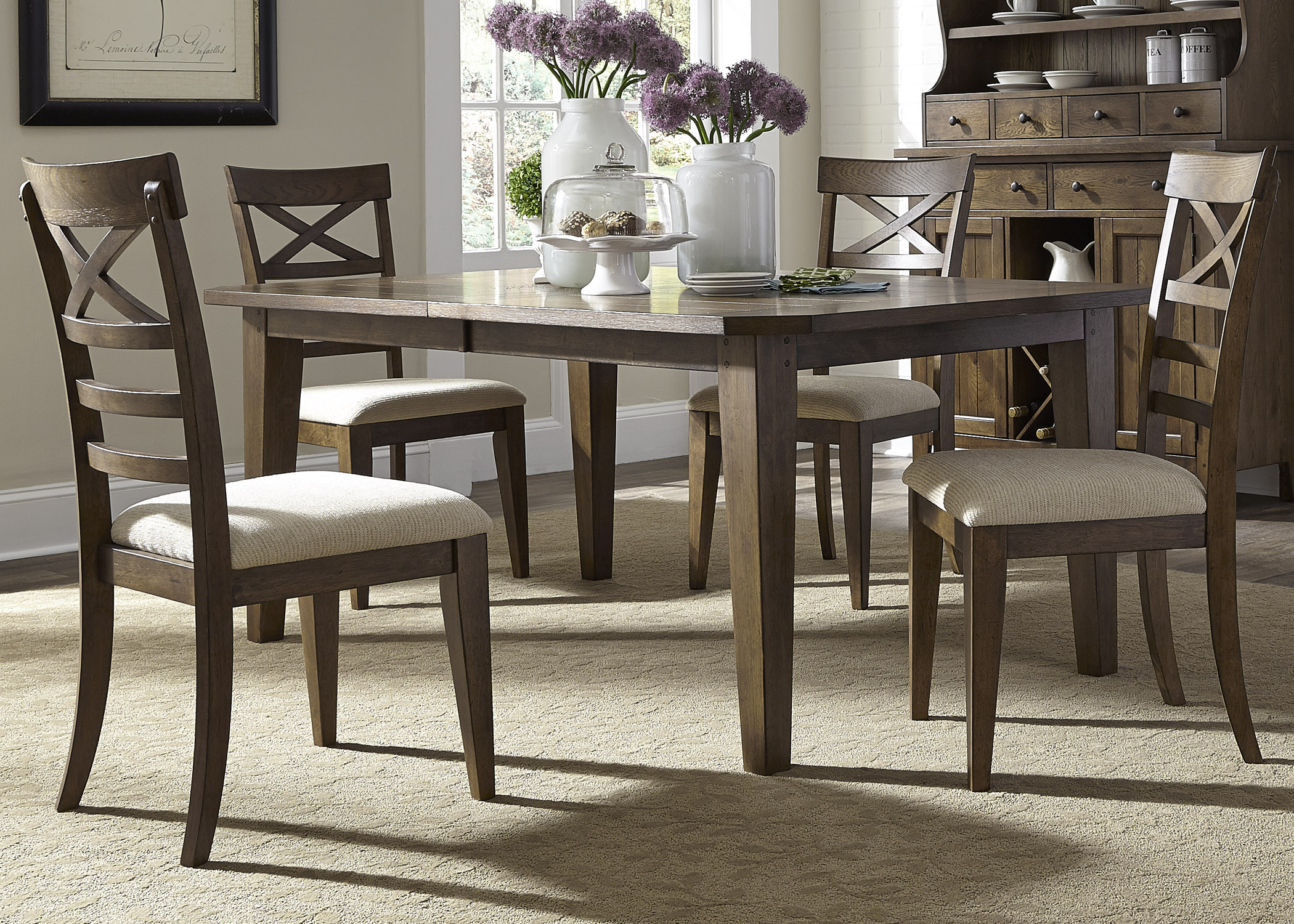 Liberty Furniture Bunker Hill 5 Piece Rectangular Table Set  - Item Number: 382-DR-O5RLS
