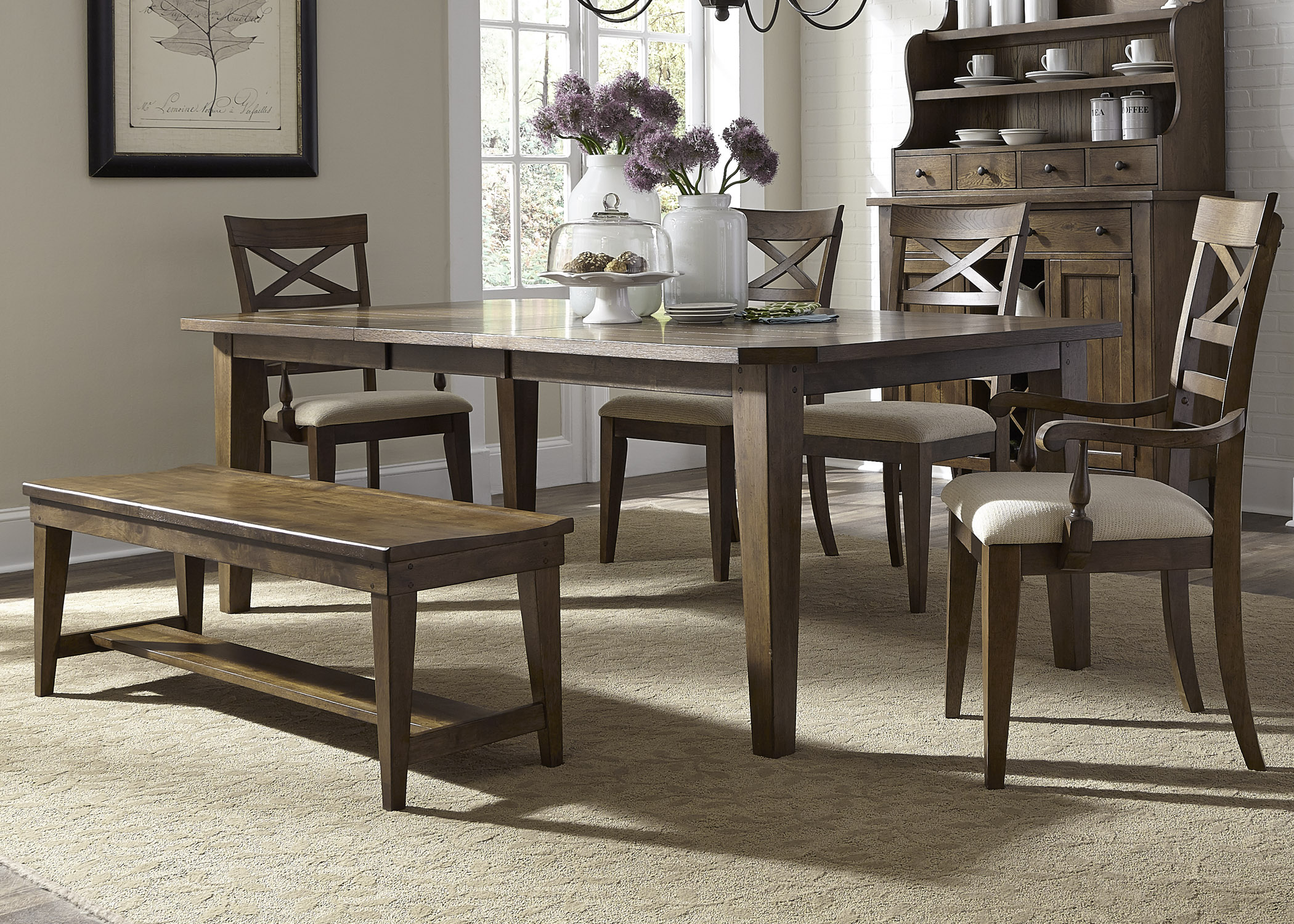 Liberty Furniture Hearthstone 6 Piece Rectangular Table Set  - Item Number: 382-DR-O6RLS