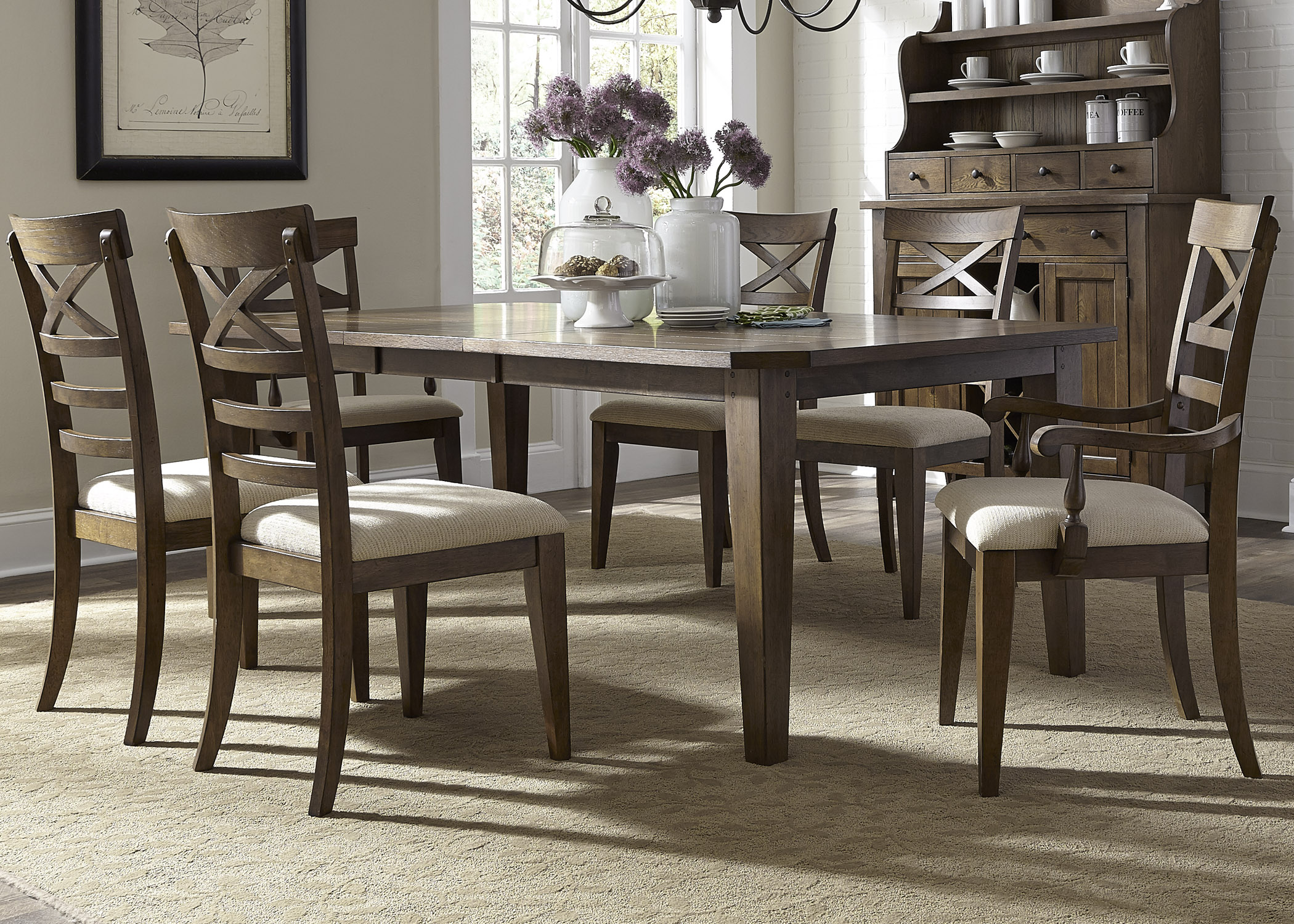 Liberty Furniture Hearthstone Opt 7 Piece Rectangular Table Set  - Item Number: 382-DR-O7RLS