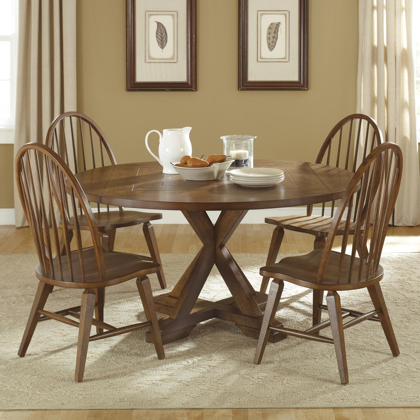 Liberty Furniture Hearthstone 5 Piece Pedestal Table Set - Item Number: 382-DR-SET17