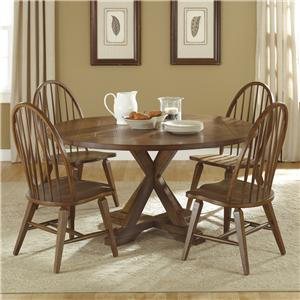 Vendor 5349 Hearthstone 5 Piece Pedestal Table Set