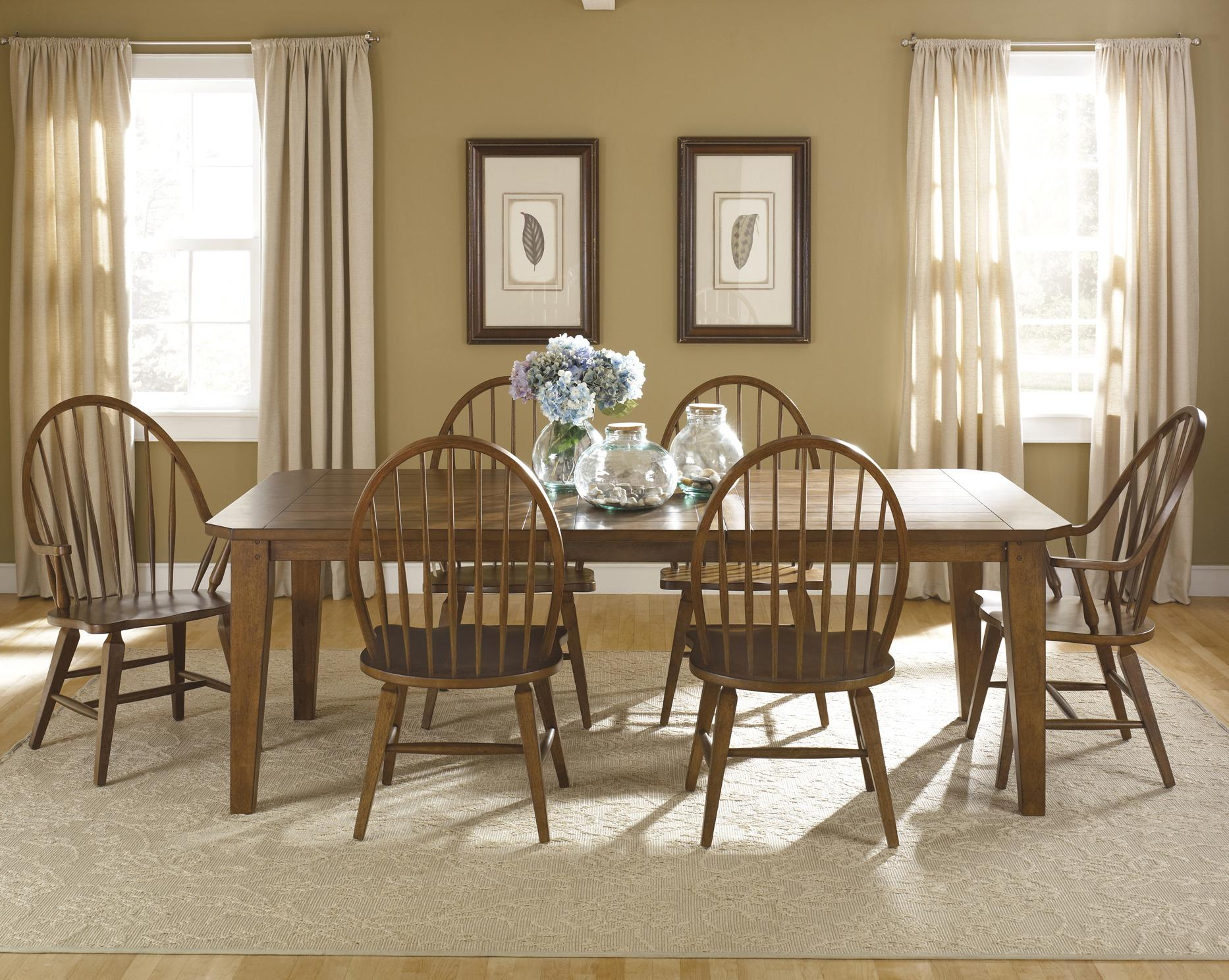 Liberty Furniture Bunker Hill 7-Piece Rectangular Table Set - Item Number: 382-DR-SET32