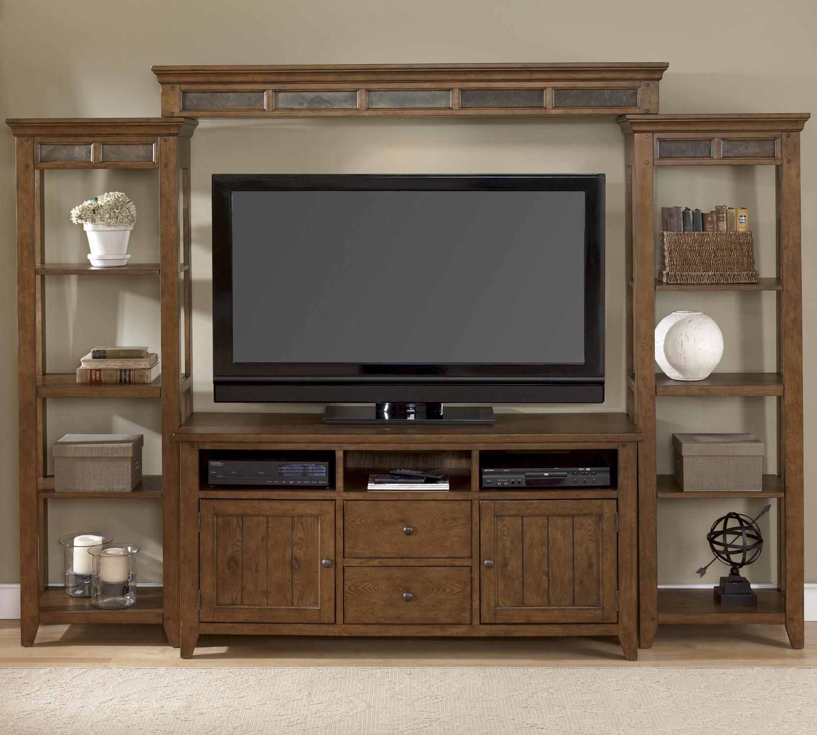 Liberty Furniture Hearthstone Entertainment Center with Piers - Item Number: 382-ENTW-SET52