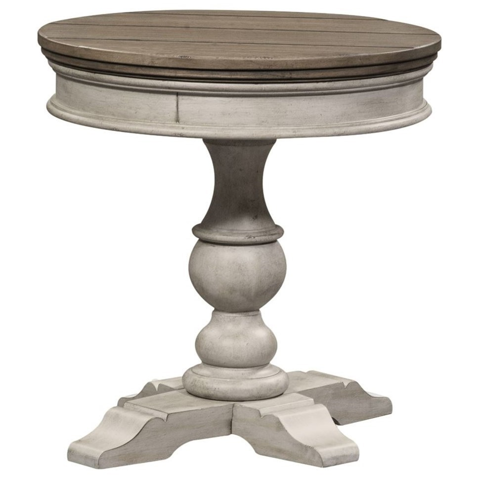 Round Pedestal Chairside Table