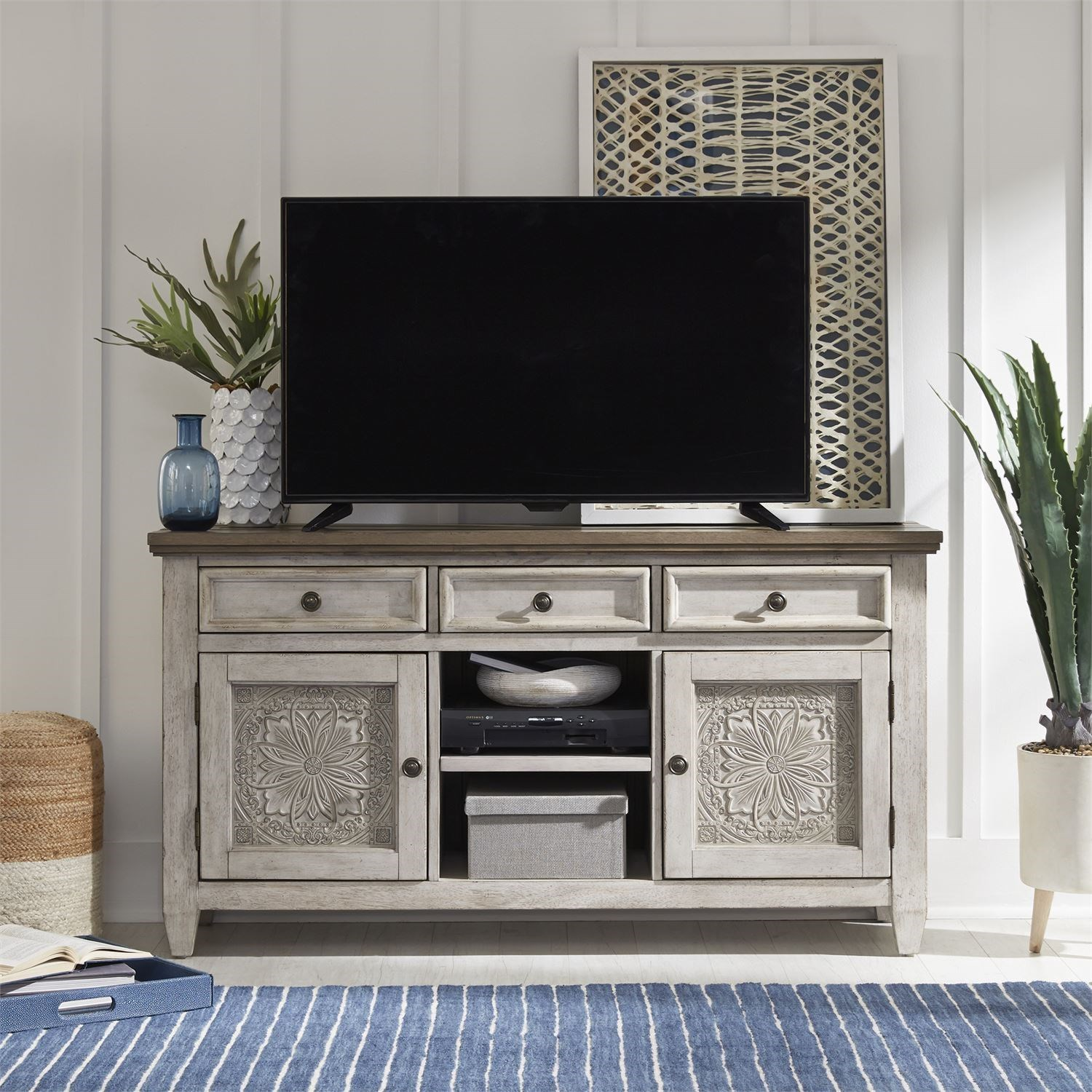 Haven 56 Inch Tile TV Console by Libby at Walker's Furniture