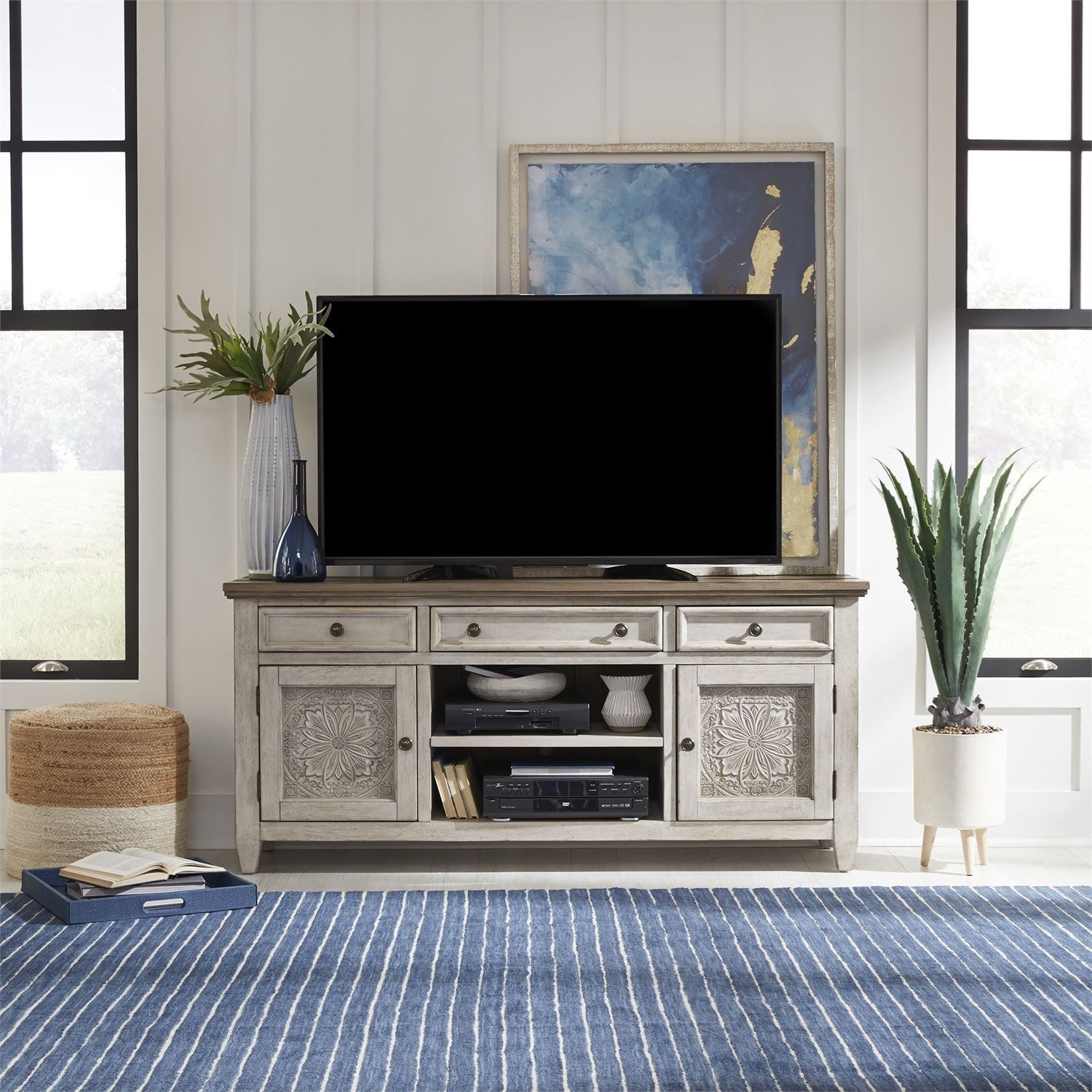 Heartland 66 Inch Tile TV Console by Liberty Furniture at Northeast Factory Direct
