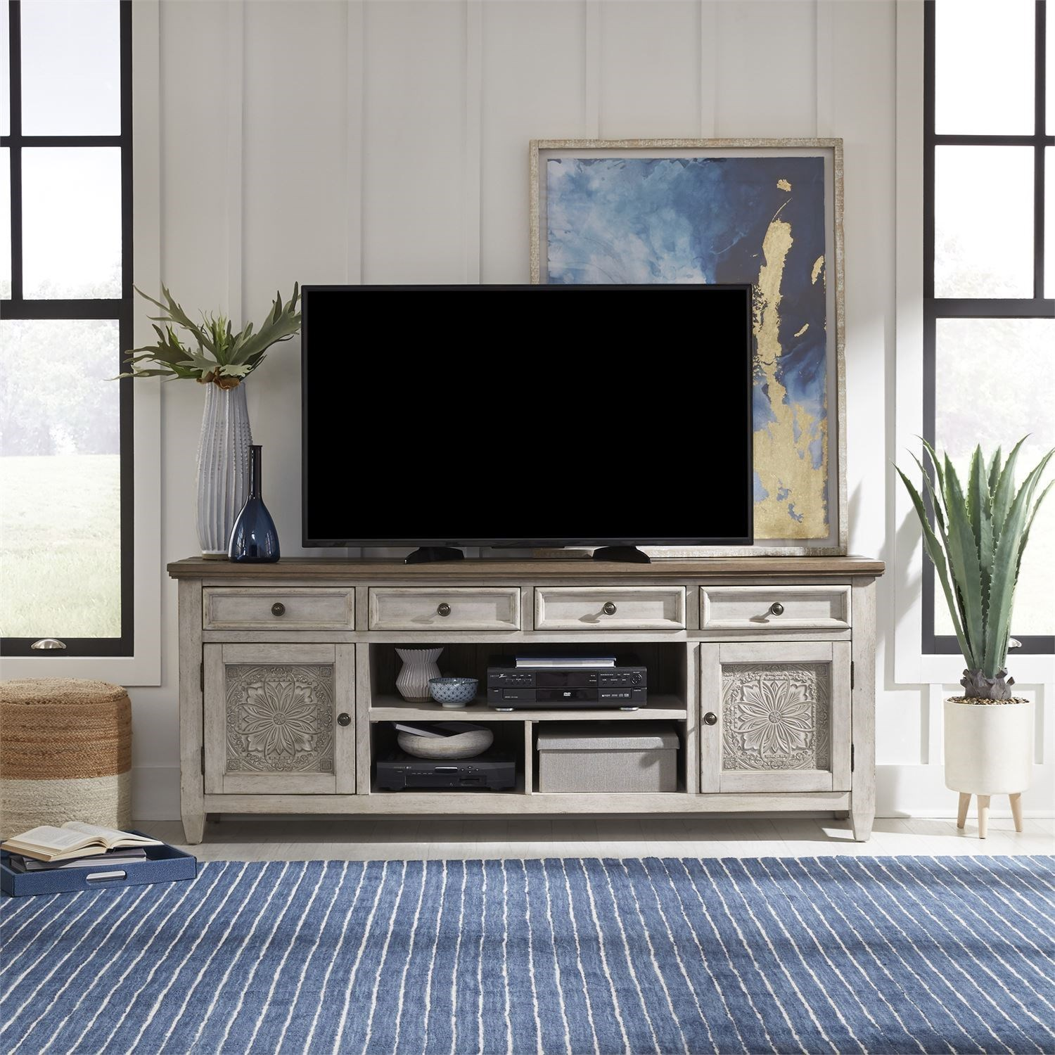 Haven 76 Inch Tile TV Console by Libby at Walker's Furniture