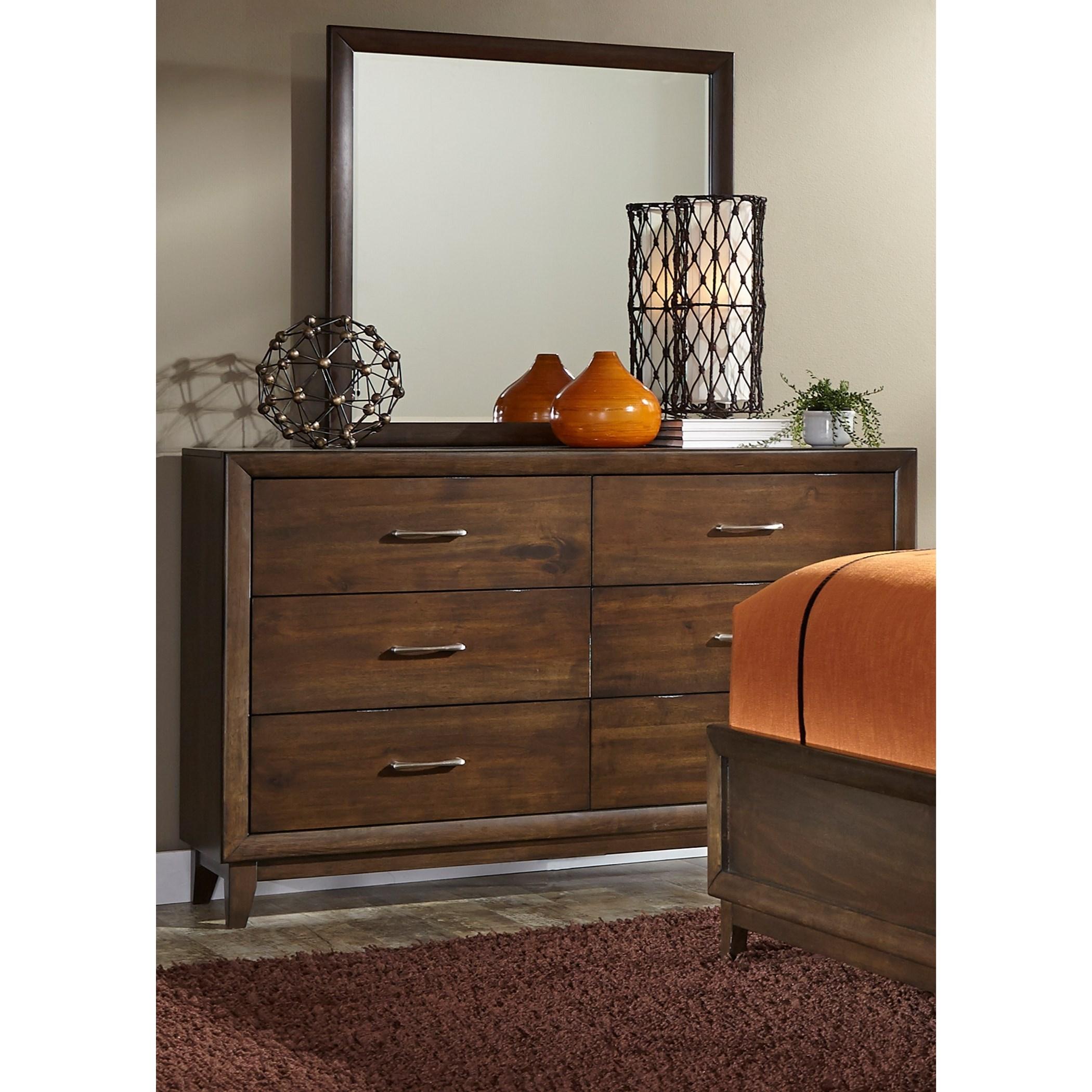 Liberty Furniture Hudson Square Bedroom 6 Drawer Dresser & Mirror  - Item Number: 365-BR-DM