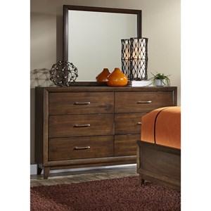 Vendor 5349 Hudson Square Bedroom 6 Drawer Dresser & Mirror