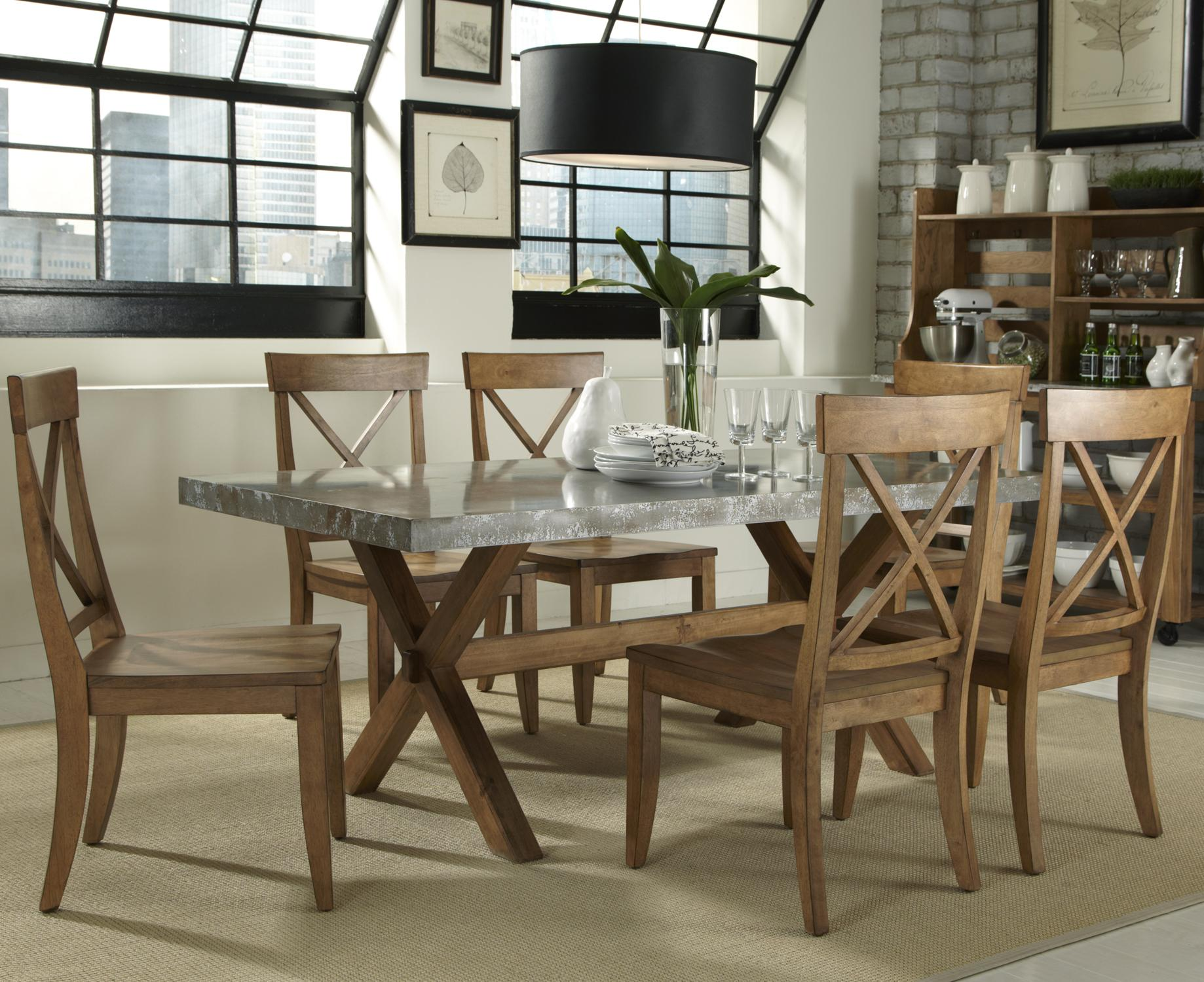 Liberty Furniture Keaton 7 Piece Trestle Table and XBack Side – Liberty Side Chair