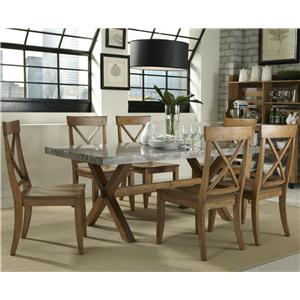 Vendor 5349 Keaton 7 Piece Trestle Table Set