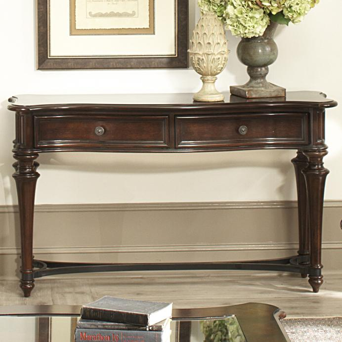 Kingston Plantation Sofa Table With Two Drawers And Metal Stretcher